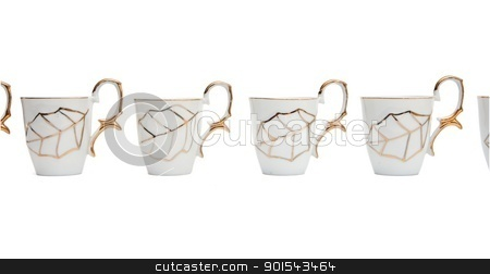 Row of white coffee cups with golden leaf isolated  stock photo, Row of white coffee cups with golden leaf isolated  by Shlomo Polonsky