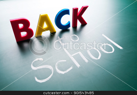 Back to school stock photo, Back to school, colorful words on blackboard. by Lawren
