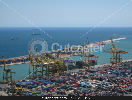 Barcelona Container Harbour stock photo, Long shot of container harbour in Barcelona, Spain. With cargo vessels and cranes. by Mikkel Gladhaug