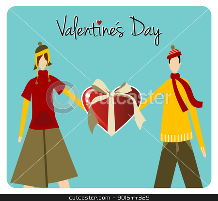 Happy Valentines day greeting card stock vector clipart, Happy Valentines day greeting card background: young couple holds a heart likes shape gift. Vector file available. by Cienpies Design