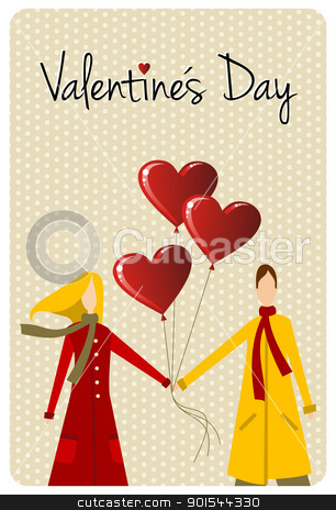 Happy Valentines day greeting card stock vector clipart, Happy valentines day greeting card background: young couple taked hands with heart likes shape balloons. Vector file available. by Cienpies Design
