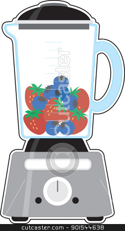 Blender stock vector clipart, An image of a blender, half filled with fresh strawberries and blueberries, before being blended. by Maria Bell