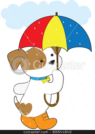 Cute Puppy in Rain stock vector clipart, A cute puppy in the rain, is wearing rubber boots and carrying an umbrella. by Maria Bell