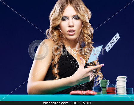 Woman give up in a card gambling match stock photo, Woman give up in a card gambling match on blue background by iMarin