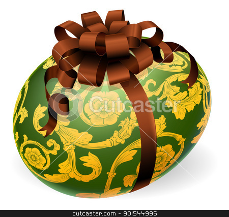 Luxury Ornate Easter Egg With Bow stock vector clipart, A luxury green Easter egg with ornate gold pattern and brown bow by Christos Georghiou
