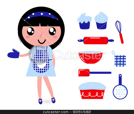 Cute cooking girl with accessories isolated on white stock vector clipart, Cute retro cooking woman with items. Vector cartoon by BEEANDGLOW