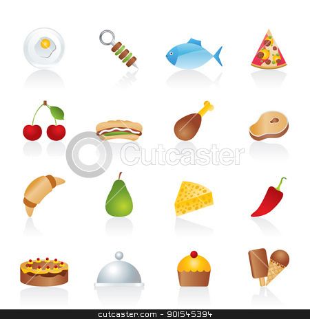 Different kind of food icons  stock vector clipart, Different kind of food icons - vector icon set by Stoyan Haytov