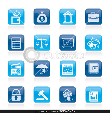 Business, finance and bank icons stock vector clipart, Business, finance and bank icons - vector icon set by Stoyan Haytov