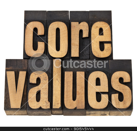 core values - ethics concept stock photo, core values - ethics concept - isolated text in vintage letterpress wood type by Marek Uliasz