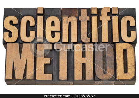 scientific method in wood type stock photo, scientific method - science concept - isolated text in vintage letterpress in wood type by Marek Uliasz
