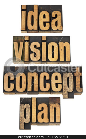 idea, vision, concept and plan stock photo, idea, vision, concept and plan - a collage of isolated words in vintage letterpress wood type by Marek Uliasz