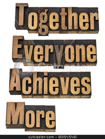 team concept in wood type stock photo, TEAM - together everyone achieves more - teamwork and cooperation concept - a collage of isolated words in vintage letterpress printing blocks by Marek Uliasz
