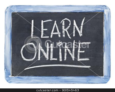 learn online blackboard sign stock photo, learn online sign - white chalk handwriting on a small retro slate blackboard by Marek Uliasz