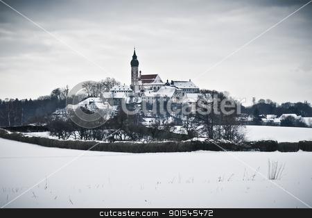 Andechs Monastery in winter scenery stock photo, An image of the Andechs Monastery in winter scenery by Markus Gann