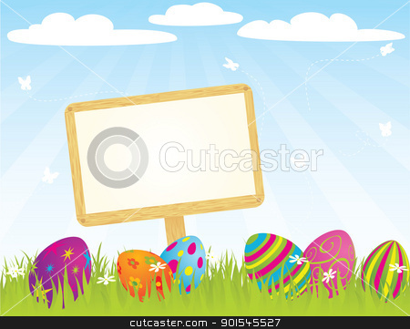 easter_sign_ stock vector clipart, Banner with easter eggs. Global colors.  by wingedcats