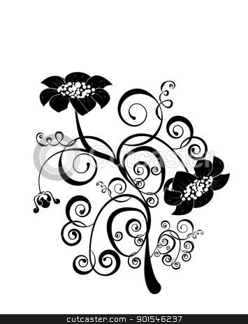 vector flower pattern on white background stock vector clipart, vector flower pattern isoleted on a white background by Ekaterina Shvetsova