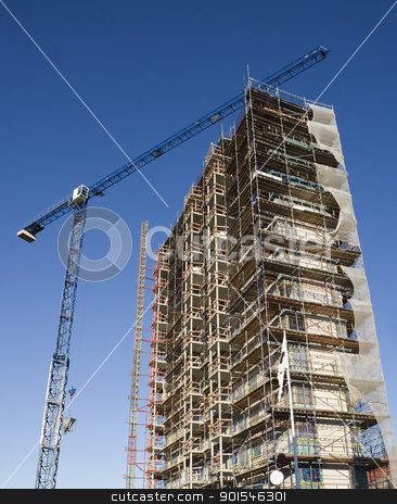 Construction site stock photo, Construction site from low angle view by Anne-Louise Quarfoth