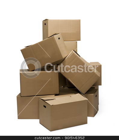 Stack of Cardboard Boxes stock photo, Stack of Cardboard Boxes isolated on white background by Anne-Louise Quarfoth
