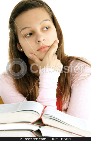 Teenage girl thinking stock photo, teenage girl portrait with opened books, thinking by Julija Sapic