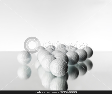 Golf objects stock photo, Golf Objects on white background by Anne-Louise Quarfoth