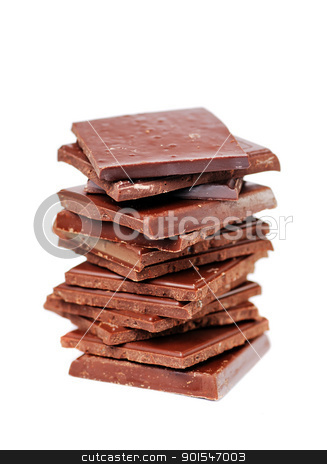 Chocolate stock photo, Chocolate on white background by bakelyt