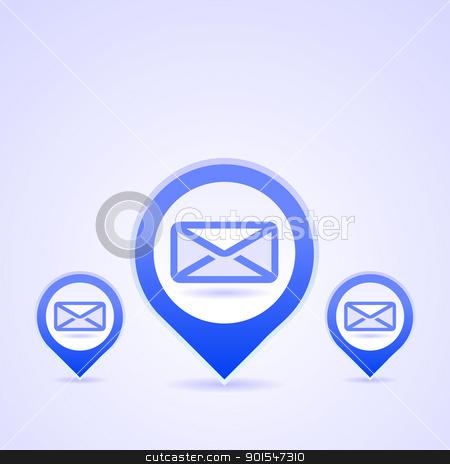 Blue Mail Symbols stock vector clipart, Illustration of blue symbol of Envelope on bright background by Vitezslav Valka