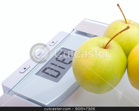 Diet stock photo, Diet - Green Apples on Bathroom Scales With Diet Sign on Display on White Background by JAMDesign
