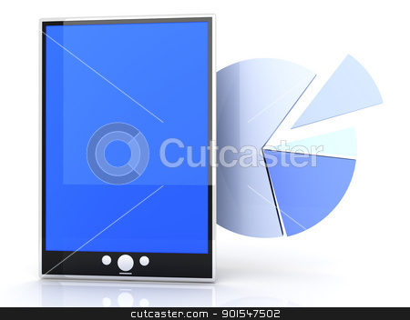 Tablet PC Statistics stock photo, Tablet PC stats and analytics. 3D rendered illustration. by Michael Osterrieder
