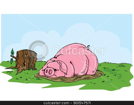 Cartoon pig wallowing in the mud stock vector clipart, Cartoon pig wallowing in the mud. Grass and blue skies behind by antonbrand