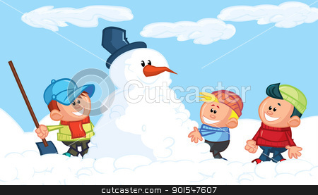 Kids building a snowman in the snow stock vector clipart, Kids building a snowman in the snow. Blue sky behind by antonbrand