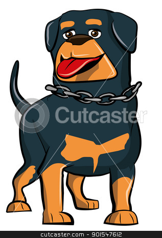 Cartoon Rottweiler with tongue sticking out stock vector clipart, Cartoon Rottweiler with tongue sticking out. Isolated by antonbrand