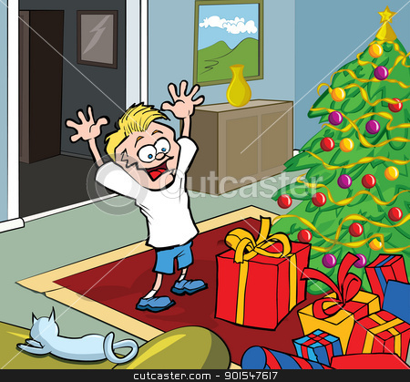Cartoon kid on Christmas morning opening gifts stock vector clipart, Cartoon kid on Christmas morning opening gifts by a Christmas tree by antonbrand
