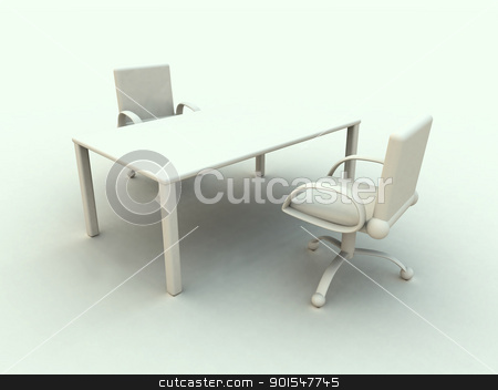 Office Furniture stock photo, 3D rendered office furniture. Surreal white, soft toned HDRI rendering.  by Michael Osterrieder