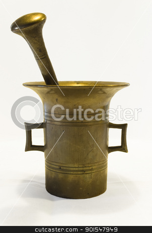 antique brass mortar stock photo, antique brass mortar by Sarka