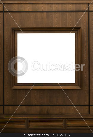 Wooden picture frame hanging on wooden wall stock photo, Wooden picture frame hanging on wooden wall by pixs4u