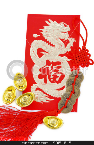 Chinese new year decoration stock photo, Blossom word with copper coins and gold ingots by pixs4u