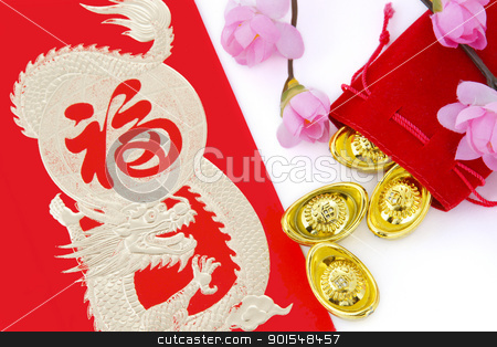 chinese new year decoration stock photo, Blossom word with gold ingots in red bag by pixs4u