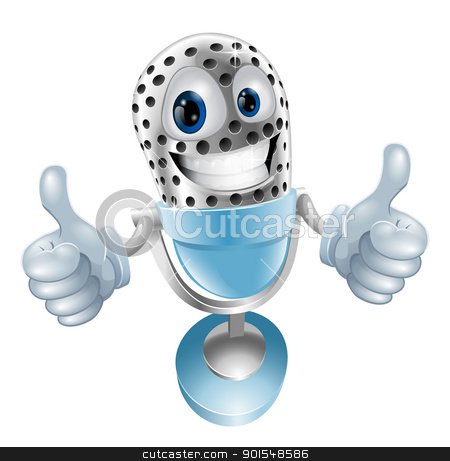 Microphone cartoon character stock vector clipart, Microphone cartoon character giving double thumbs up  illustration by Christos Georghiou