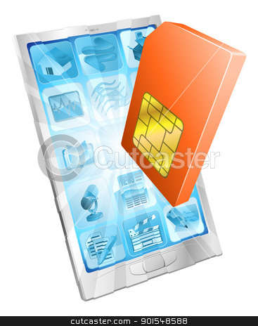 Phone SIM card icon concept stock vector clipart, Phone SIM card icon coming out of screen concept by Christos Georghiou