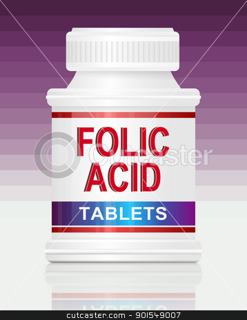 Folic acid. stock photo, Illustration depicting a single medication container with the words 'folic acid tablets' on the front with purple gradient  background. by Samantha Craddock