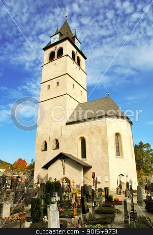 Church of our lady and cemetery (liebfrauenkirche) - Kitzbuhel A stock photo, Vertical view of Church of our lady and cemetery (liebfrauenkirche) - Kitzbuhel Austria by padebat