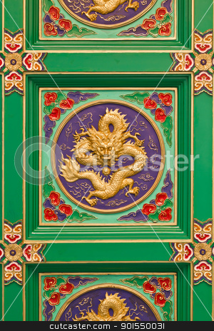 Decorative ceiling traditional chinese  stock photo, Decorative ceiling traditional chinese dragon image in chinese temple Thailand by Lavoview