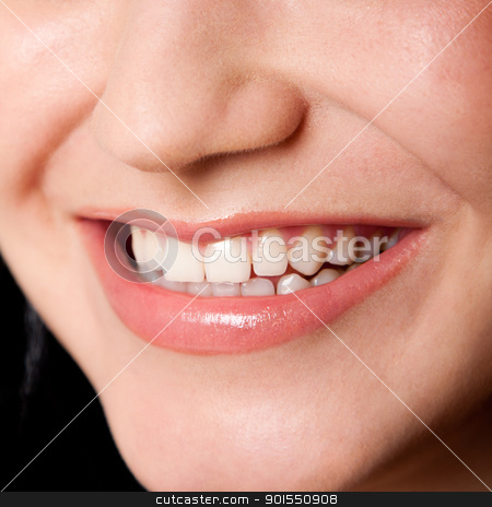 Beautiful teeth in a perfect smile stock photo, Beautiful white teeth in a perfect happy smile of a female face, dentist tooth whitening concept. by Paul Hakimata