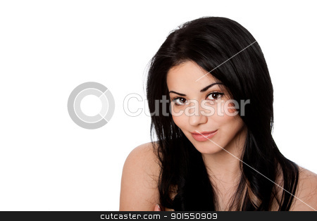 Beauty face with great skin stock photo, Beautiful face of happy smiling attractive young woman with great skin and black hair, skincare concept, isolated. by Paul Hakimata