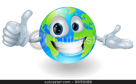 Globe mascot giving a thumbs up stock vector clipart, Illustration of a smiling happy globe character giving a thumbs up by Christos Georghiou
