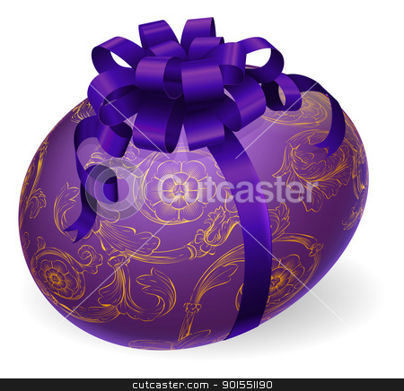 Decorated Wrapped Easter Egg stock vector clipart, Illustration of a luxury patterned Easter egg wrapped with satin bow by Christos Georghiou