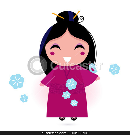 Geisha woman in pink kimono isolated on white stock vector clipart, Stylized cute japanese woman. Vector illustration by BEEANDGLOW