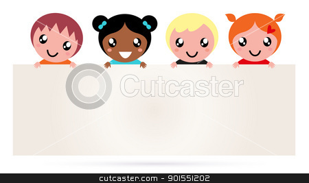 Multicultural kids holding blank banner sign isolated on white stock vector clipart, Multi ethnicity children holding a blank banner. Vector by BEEANDGLOW