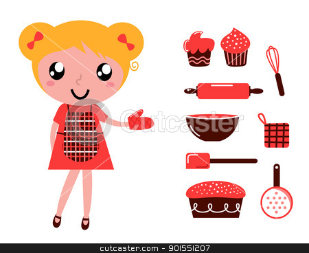 Woman with cooking accessories set isolated on white stock vector clipart, Retro baking girl - vector cartoon Illustration  by BEEANDGLOW
