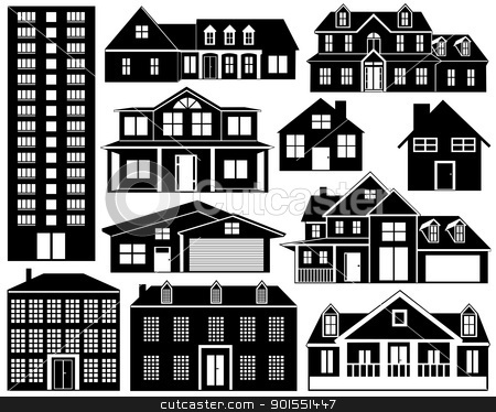 House silhouettes stock vector clipart, House silhouettes isolated on white by Ioana Martalogu